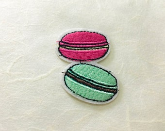 Macaron Iron on Patch(M2) - Macaron Applique Embroidered Iron on Patch Size 4.2x4.3 cm