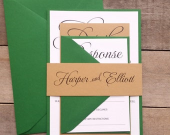 Rustic Wedding Invitations, Green and Tan Wedding Invitation, Script Invitations, Forest Wedding, Green Wedding s020 Harper