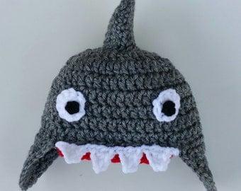 Shark hat, baby crochet shark hat, grey crochet hat, crochet shark hat