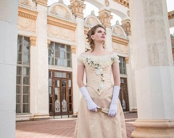 Milk-white Flower Bustle Gown, 1880s Wedding Dress