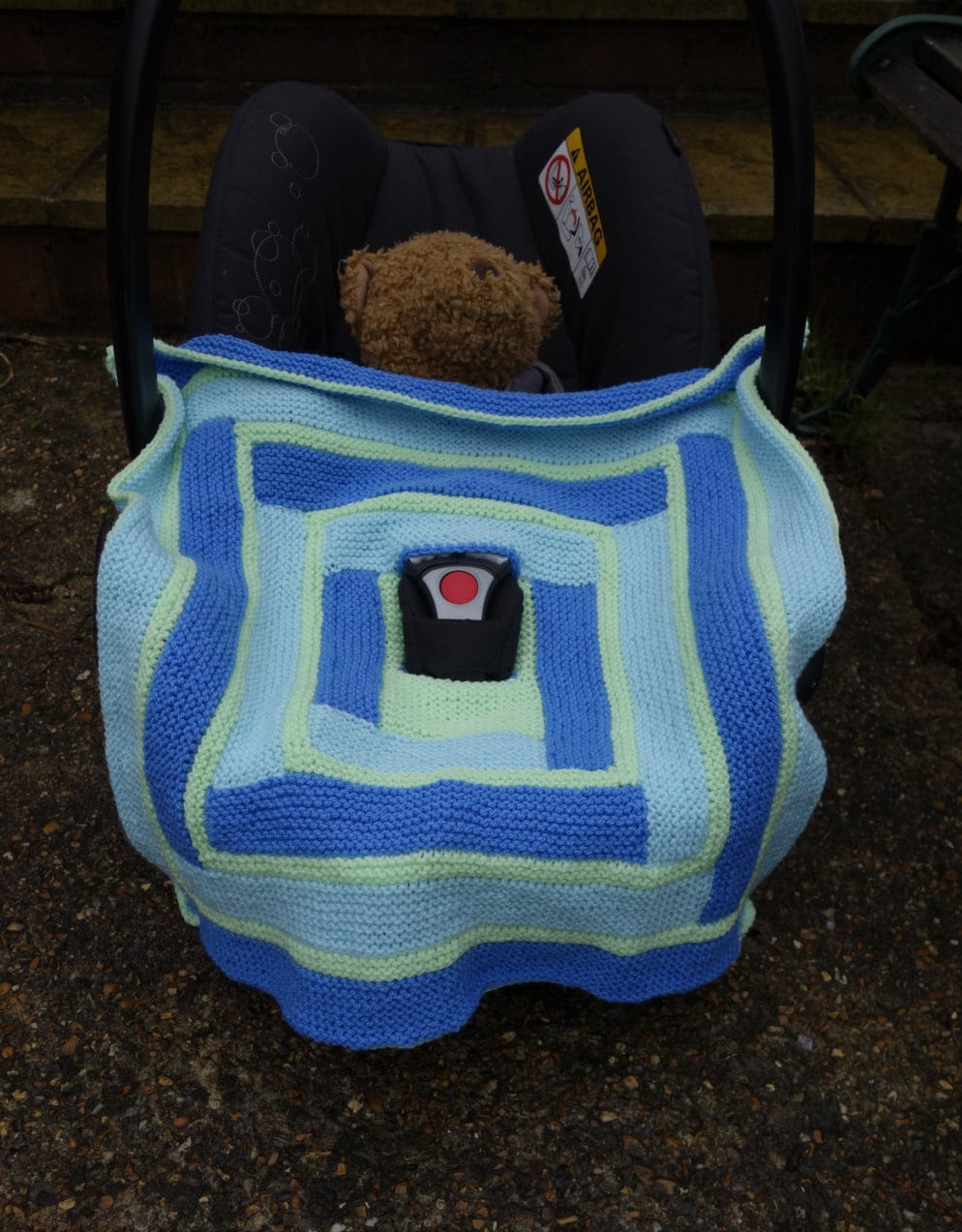Hand knitted car seat baby blanket car seat accesory baby