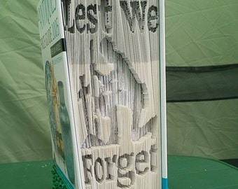 Measure , Mark , Cut + Fold Lest We Forget with soldier remembrance day book folding art pattern ( With Instructions)