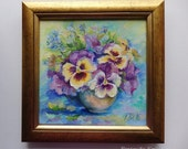 FLOWERS Pansies bouquet Classic Still life Framed Original OIL PAINTING on canvas Hand painted Miniature Floral Art Gold frame wall decor