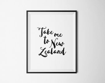 New Zealand Print, New Zealand Art, New Zealand Poster, New Zealand Printable, Office Wall Art, Office Printable, Travel Printable