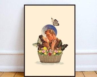 "Retro art print, moon print, surreal collage art, kiss poster, vintage collage art, flowers print, vintage illustration - ""Basket of love""."