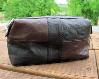 Leather Cosmetic bag Leather bag Black and Brown Beauty Makeup case Gift for mother Gift for her Makeup bag leather purse Pouch Leather bag
