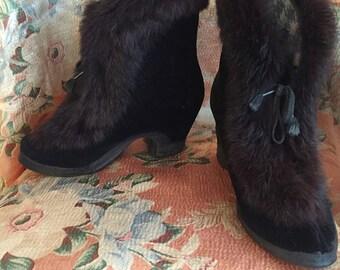 Vintage 1930s Black Velvet & Fur Boots - 30s Fur Trimmed Boots - Vintage 1930s Galoshes Over-Shoes Overshoes