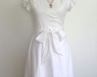 Vintage Gap dress, S, white dress, cotton dress, linen dress, white wrap dress, linen wrap dress, summer dress, feminine dress
