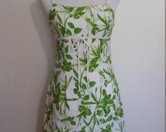 Cotton sundress, S, green sundress, empire waist dress, cotton dress, summer dress, floral dress, floral sundress