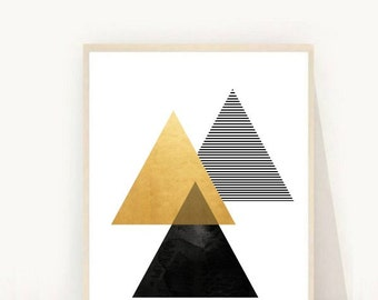 Geometric Art Print, Printable Wall Art, Diamond Print, Instant Download, Modern Wall Art, Abstract Art Print, Gold geometric print