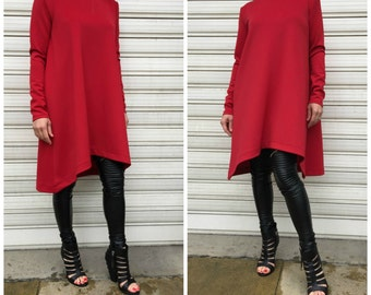 Red Asymmetric Tunic Dress / Long Sleeves Top / Loose Dress / Oversize Tunic Top / EXPRESS SHIPPING