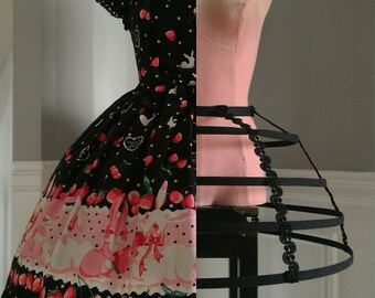 Cage/Hoop Skirt - Cupcake (42cm long*) in black or off-white with heavy duty spring steel, perfect for bridal or period costume/cosplay use