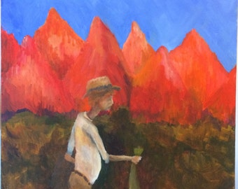 """Original Surreal Mountain Landscape Painting """"Fish,"""" 18"""" by 24,"""" 2015"""