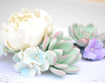 Succulent peony hair comb, wedding bridal succulent white peony flower floral hair comb headpiece accessory, rustic wedding hair comb