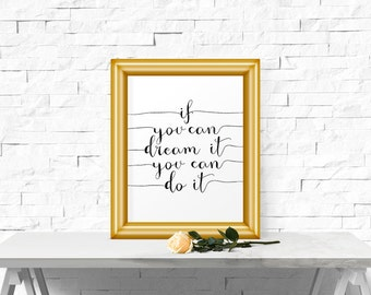 If You Can Dream It You Can Do It, Watercolor, Nursery Wall Art, Scandinavian Design, Walt Disney, Nursery Decor, Wall Art, Positive Quote