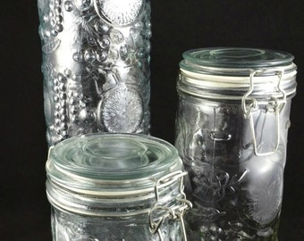 Vintage Clear Glass Canister Set, Set of 3 Glass Canisters, Food Storage, Kitchen Storage, Kitchen Decor