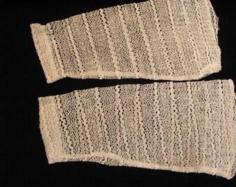 Victorian Ecru Linen Lace Sleeves Cuffs