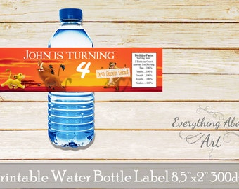 Lion King Water bottle label  - Birthday party Lion King - Printable Label Lion King - Water Bottle Wrap Lion King - Bithday Party for boy