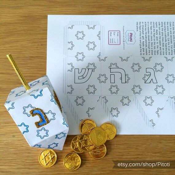Hanukkah Craft, Hanukkah dreidel, paper dreidel craft for kids ...