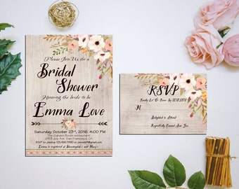 Printable Bridal Shower Invitation + RSVP, Rustic Floral Bridal Shower Rustic Floral Bridal Shower, Bridal Shower DIY Wedding