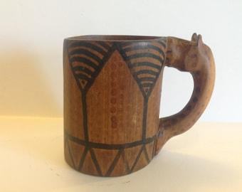 Vintage Tribal Wood Mug with Animal Handle