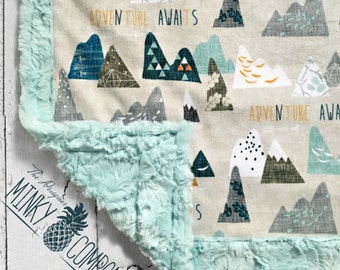 Adventure Awaits - Minky Baby Blanket -  - Sea Glass Hide