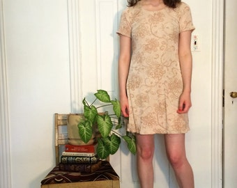 vintage 90s glitter floral beige tunic top