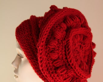Handmade knit red Lagenlook beautiful wool and viscose beanie hat.
