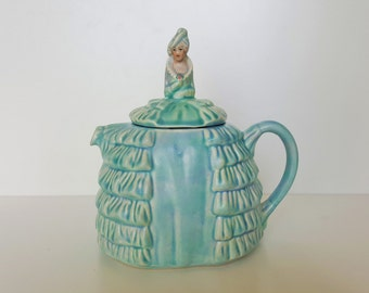 Sadler Teapot Crinoline Lady Blue Ye Daintee Laydee 1930s English Collectible Vintage Tea Pot. Collectable Ceramic China Gift for Her