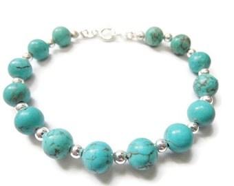 Magnifique Bracelet Turquoise Howlite En Argent Massif 925