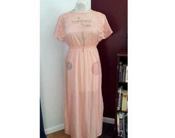 Vintage pink 1970's nightgown, vintage slip dress