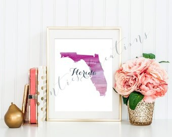 Florida State Pink Ombre Watercolor Printable Art. Florida State Love Printable. Florida Silhouette Outline Watercolor State.