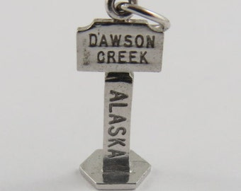 Dawson Creek Alaska Highway Mile '0' Sterling Silver Vintage Charm For Bracelet