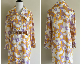 3/4 Sleeve Goldenrod Yellow and Purple Floral Vintage Shift Dress, Women's Medium Size 10