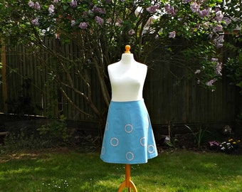 Vintage Style A-Line Skirt, Floral Skirt, Women's Skirt, Cotton Skirt, 60's Style Skirt, Blue A-Line Skirt, Embroidered Forget-Me-KnotSkirt,