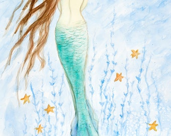 "Mermaid greeting card, mermaids, beach art, 5"" x 7"", print from original watercolor by Tina Obrien"