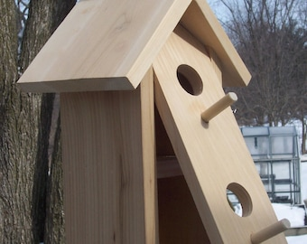 Double hanging birdhouse with front clean-out