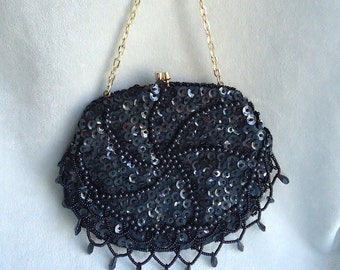Mister Ernest Handbag Inc., Simon,  Black Beaded and Sequin Vintage Handbag / Clutch in Excellent Condition