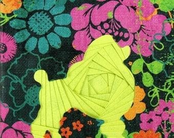 Iris Folded Poodle Greeting Card