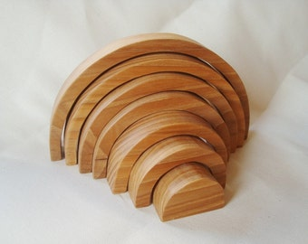 "Large wood stacker 12''x7"". Wood rainbow. Wood rainbow sorting toy. Montessori toys"