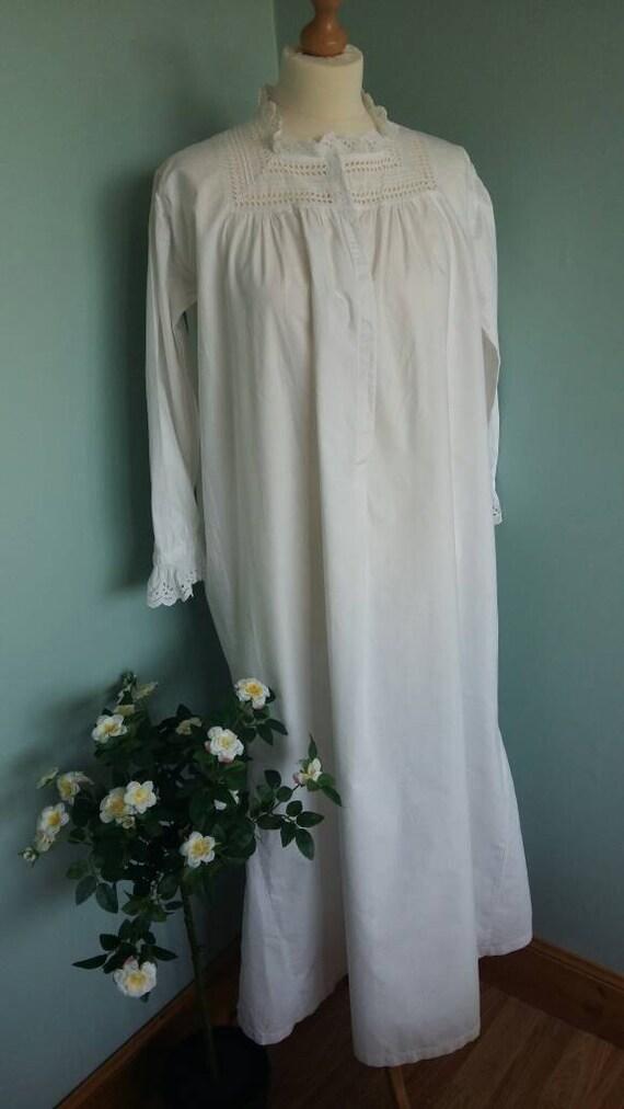 Long Vintage Nightgown Or Nightdress Night Shirt White Cotton