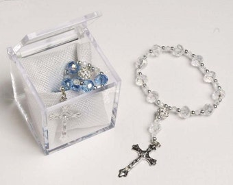 Baptism Rosary Favors, Mini (Real) Crystal Rosary Baptism Favors, Communion Favors - As low as 3.40 each