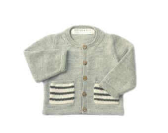 Grey baby cardigan with monochrome pockets. Merino Wool | Sizes 0 - 3 years