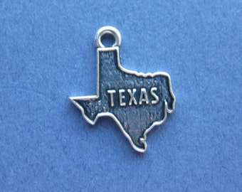 5 Texas Charms - Texas Pendants - State Charms - Texas - Antique Silver - 15mm x 19mm  -- (K6-10032)