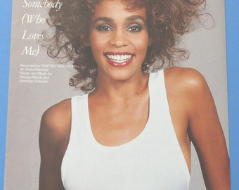 I Wanna Dance With Somebody (Who Loves Me) Whitney Houston photo cover vintage sheet music 1986 guitar chords Arista Records