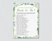 Green Bridal Shower How Well Do You Know the Bride To Be Game - Printable Botanical Wreath Bridal Shower - Who Knows the Bride Best? 0021