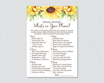 Sunflower What's in Your Phone Game - Printable Rustic Bridal Shower Phone Game - Yellow Sunflower Bridal Shower Phone Search 0016-A