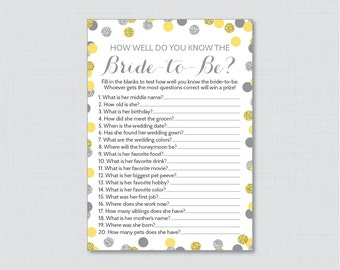 Yellow and Silver How Well Do You Know the Bride To Be Game - Printable Yellow & Gray Bridal Shower Game - Who Knows the Bride Best? 0001-Y
