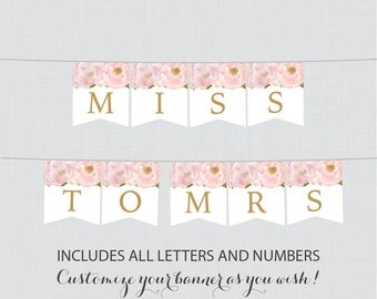 Printable Banner with ALL Letters and Numbers - Pink and Gold Floral Bridal Shower Decoration - Blush Pink Garden Bridal Shower Banner 0007