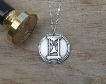 Hourglass wax seal pendant